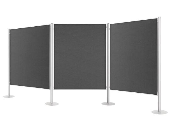 Präsentationswand + Raumteiler, stationär, 3 Tafeln